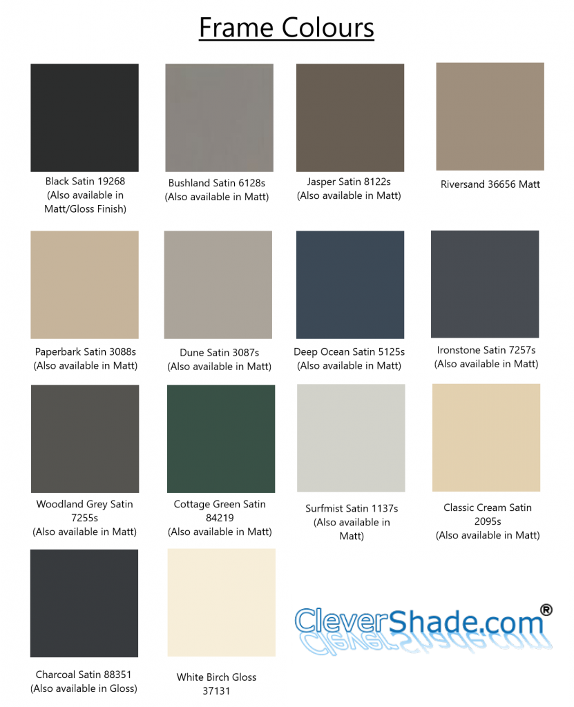 CleverShade Frame Options - Custom Made Awning Colours