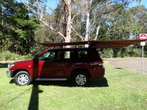 Vehicle awning 4WD CleverShade car shade red canopy