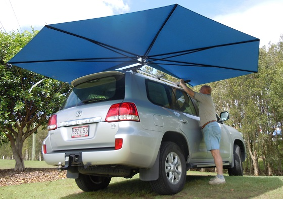 Vehicle awning 4wd camping CleverShade shade installed