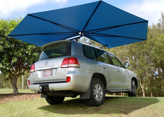 Vehicle awning 4WD CleverShade car shade blue canopy