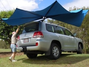 Vehicle awning 4WD CleverShade car shade blue canopy rising