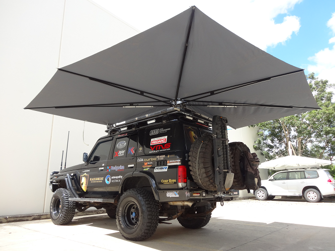 Vehicle awning 4wd CleverShade camping shade Black Knight