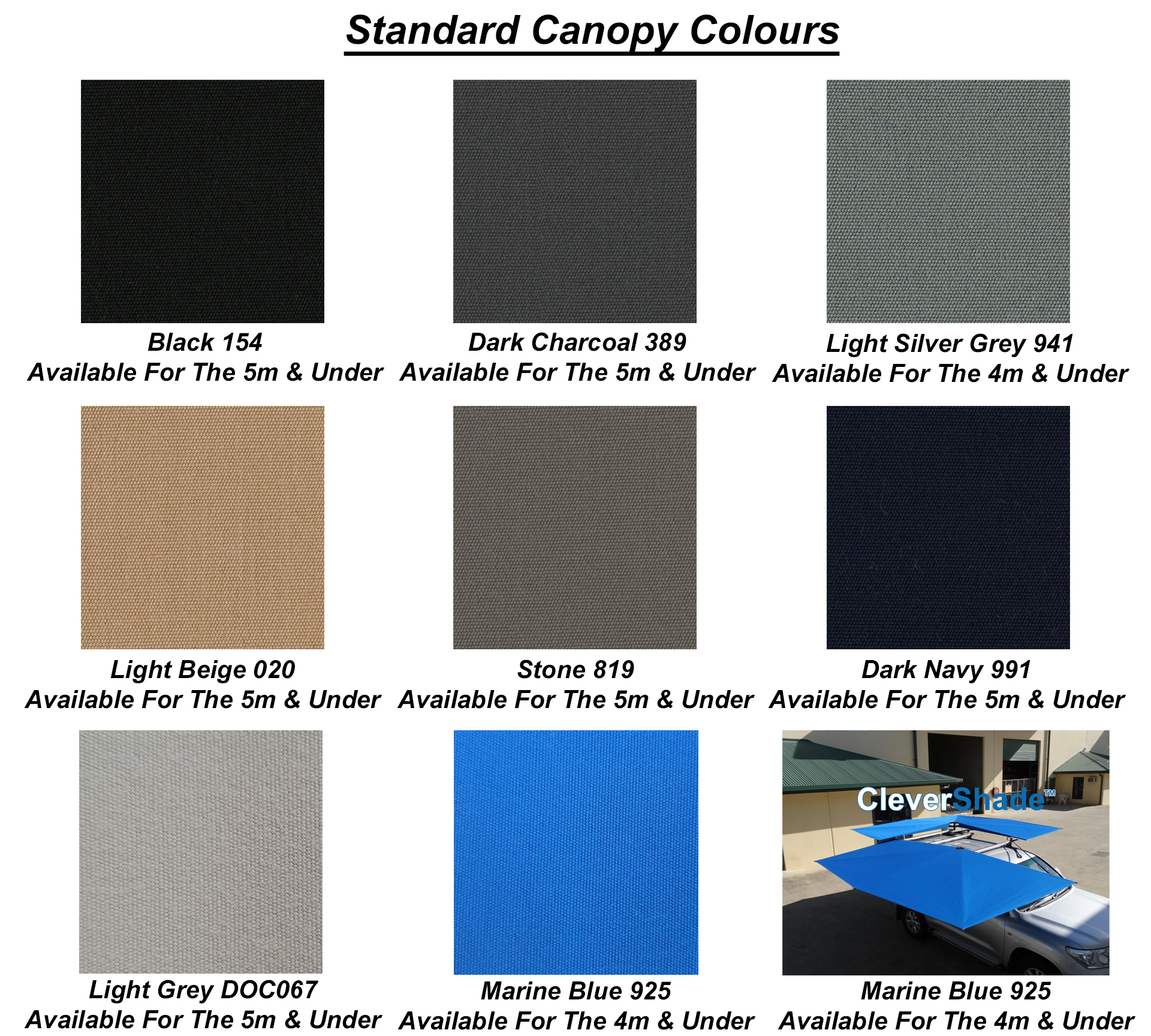 CleverShade Awning Colours - Standard